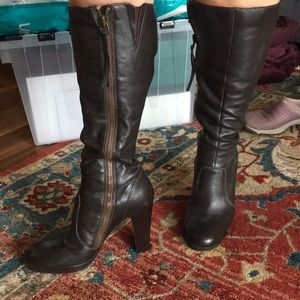 Brown leather boots with 4in heel